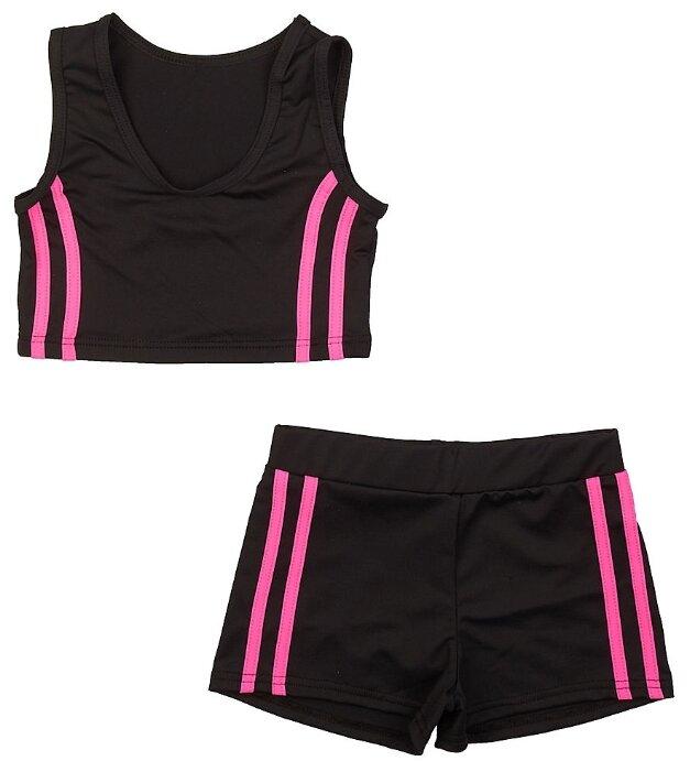 Спортивный костюм Chersa размер 122-128, черный/розовый