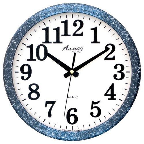 Часы настенные кварцевые Алмаз B87 синий/белый
