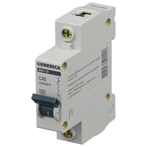 Автоматический выключатель IEK ВА 47-29 GENERICA 1P (C) 4,5kA 40 А автомат iek 3п c 40а ва 47 100
