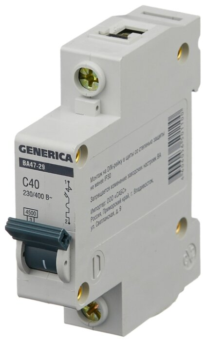 Автоматический выключатель IEK ВА 47-29 GENERICA 1P (C) 4,5kA