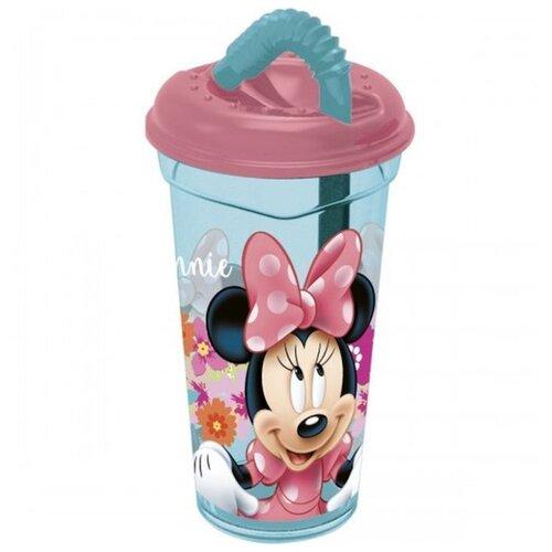 Stor Стакан с соломинкой и крышкой Минни Маус Цветы 400 мл розовый/голубой