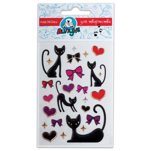 Липуня Набор гелевых наклеек Кошки и сердца (bES011)