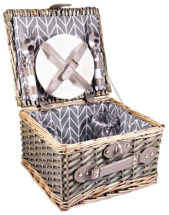Набор для пикника на 2 персоны в корзине: 2 тарелки, 2 бокала, 2 набора столовых приборов 30*27*18см 130012