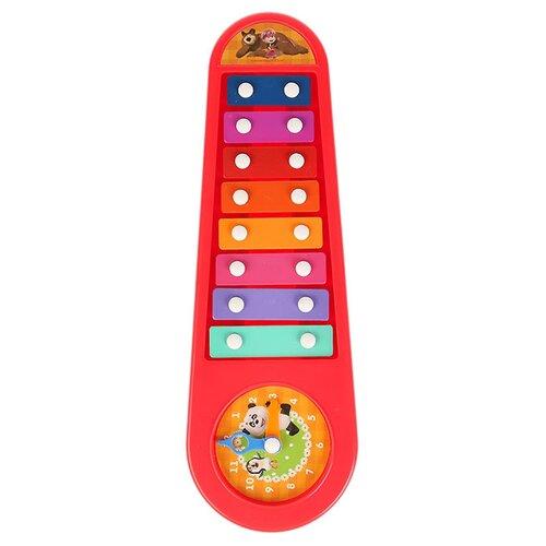 Купить Играем вместе ксилофон Маша и Медведь B362755-R2 красный, Детские музыкальные инструменты