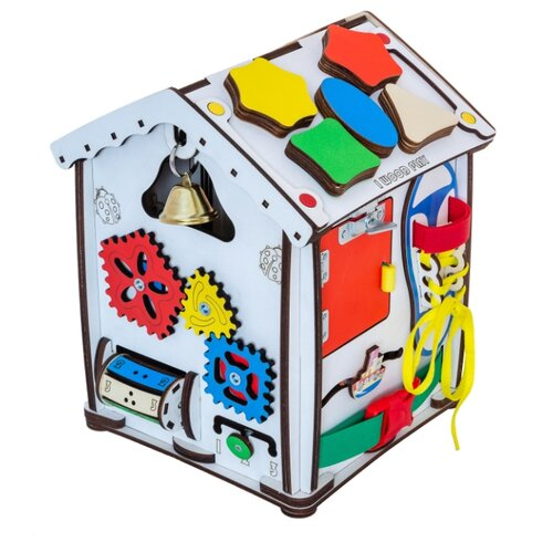 Купить Бизиборд IWOODPLAY Бизи-дом со светом 24х24х30 белый/голубой/желтый/зеленый/красный, Развитие мелкой моторики