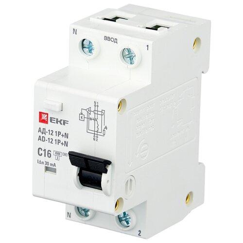 Дифференциальный автомат EKF АД-12 Basic 2П 30 мА C 16 А автомат ekf mcb47100 3 80c pro
