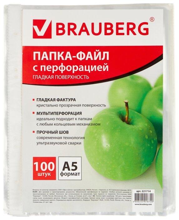 BRAUBERG Папка-файл перфорированная Яблоко, А5, 100 шт. — купить по выгодной цене на Яндекс.Маркете