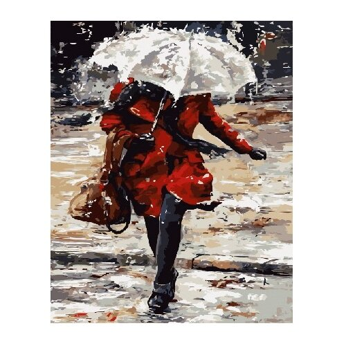 Фото - ВанГогВоМне Картина по номерам Девушка под дождем, 40х50 см (ZX 22251) вангогвомне картина по номерам любовь к кофе 40х50 см zx 22277