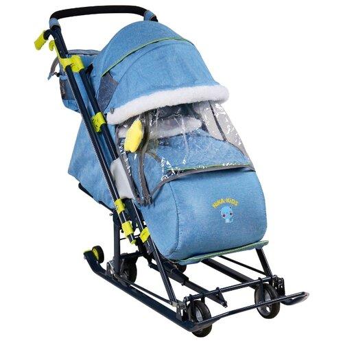 Санки-коляска Nika Ника Детям 7-7 (НД7-7) дизайн в джинсовом стиле синий nika kids санки коляска ника детям умка 3 3 принт вязаный