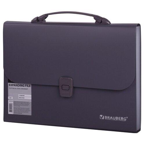Купить BRAUBERG Портфель пластиковый А4, 13 отделений темно-серый, Файлы и папки