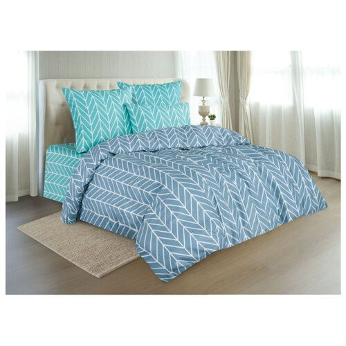 Постельное белье 2-спальное макси Guten Morgen Herringbone, перкаль синий/голубой