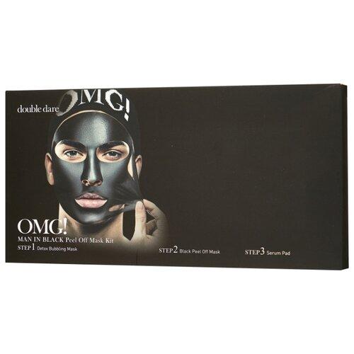 Double Dare OMG! Man in Black Трехкомпонентный комплекс мужских масок «Смягчение и Восстановление» 5 шт 155 мл