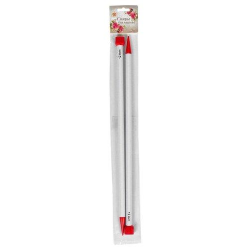 Спицы Арт Узор прямые 2610009, диаметр 12 мм, длина 40 см, белый/красный