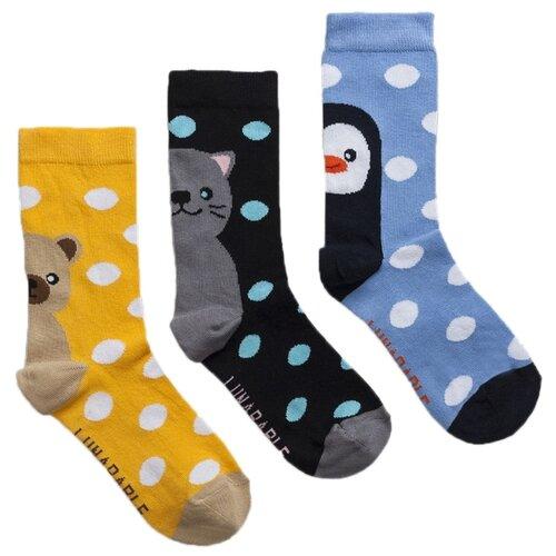 Носки Lunarable Зверята, 3 пары, размер 35-39, желтый/черный/голубой