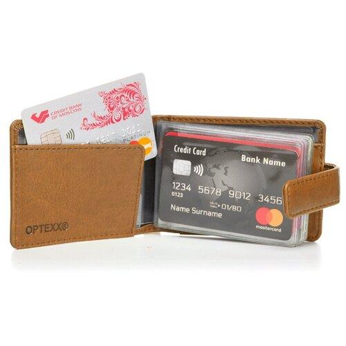 Картхолдер Джордж для банковских и социальных карт с защитой от краж коричневого цвета