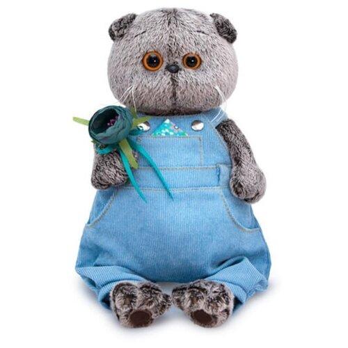 Купить Мягкая игрушка Basik&Co Кот Басик в голубом комбинезоне и с цветком 19 см, Мягкие игрушки
