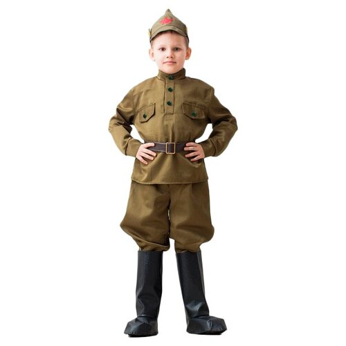 Купить Костюм Бока Военная форма Буденовец, хаки, размер 140-152, Карнавальные костюмы