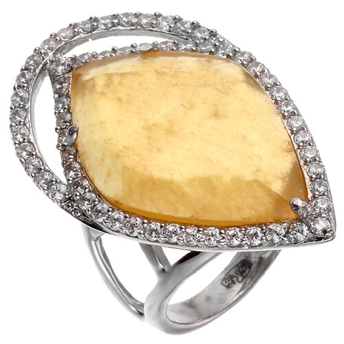 ELEMENT47 Кольцо из серебра 925 пробы с кальцитом и кубическим цирконием ER016092-X_KL_001_WG, размер 17.5