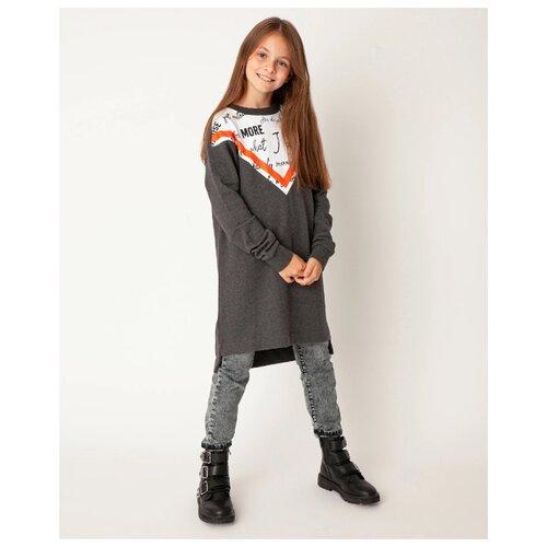 Купить Платье Gulliver 22008GJC5005 размер 164, серый/белый, Платья и сарафаны