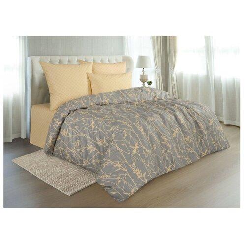 Постельное белье 1.5-спальное Guten Morgen Twigs (929) 70х70 см, перкаль серый/желтый