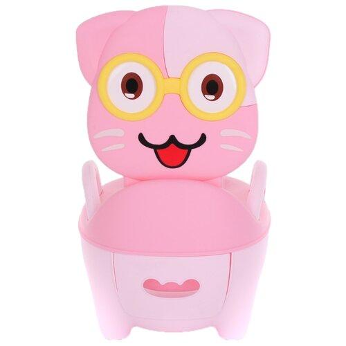 Pituso горшок Котик в очках розовый pituso горшок львенок голубой