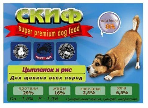 Корм для собак Скиф Цыпленок и рис для щенков всех пород