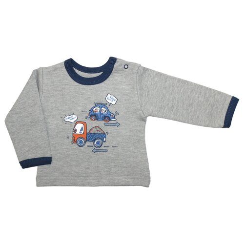 Купить Лонгслив Веселый Малыш размер 74, серый, Футболки и рубашки