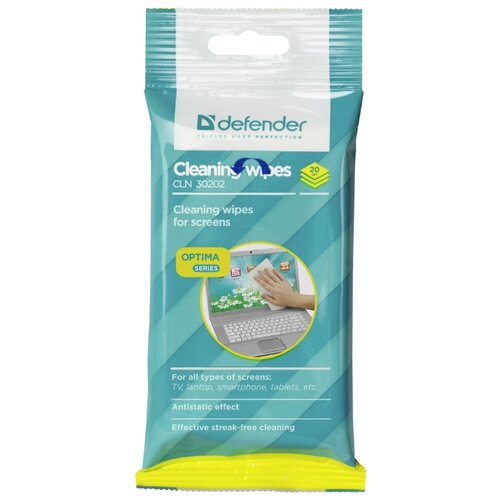 цена на Defender Cleaning Wipes CLN 30202 Optima влажные салфетки 20 шт. для экрана