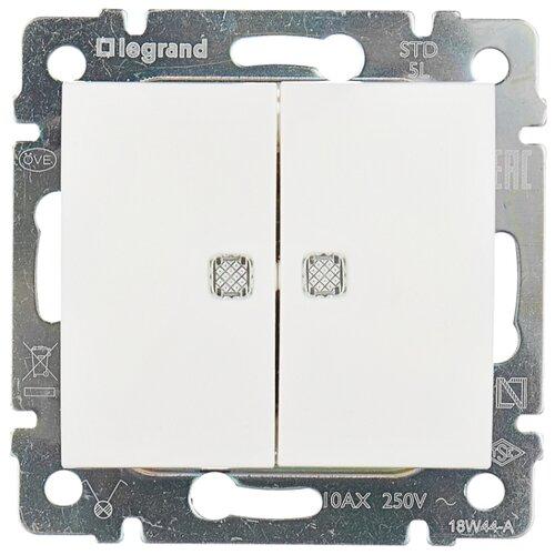 Выключатель 2х1-полюсный Legrand Valena 774428,10А, белый выключатель 2х1 полюсный legrand valena allure 752905 10а алюминиевый