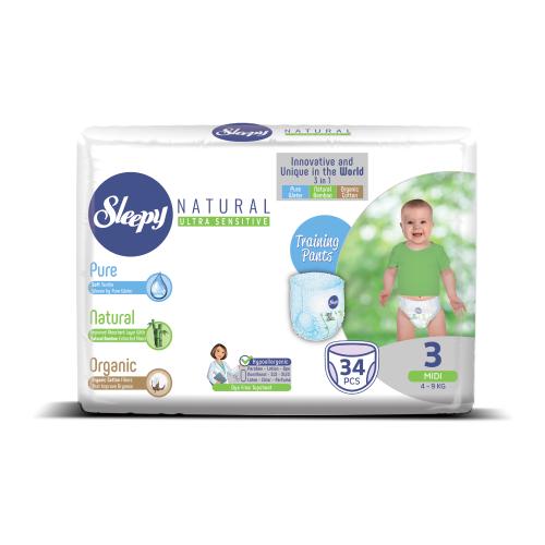 Купить Sleepy трусики Natural Ultra Sensitive 3 (4-9 кг) 34 шт., Подгузники