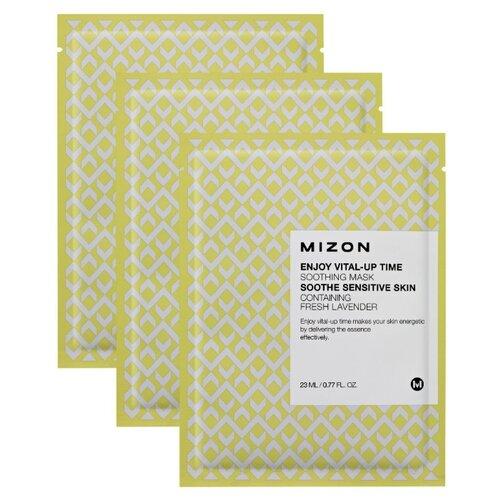 Mizon Enjoy Vital-Up Time Soothing Mask успокаивающая тканевая маска, 23 мл, 3 шт. тканевая маска mizon bio collagen ampoule mask объем 27 мл