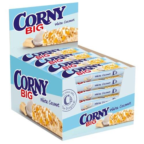 Злаковый батончик Corny Big White Coconut с белым шоколадом и кокосом, 24 шт батончик злаковый poppins honey flakes bar со вкусом меда с белым шоколадом 25 г