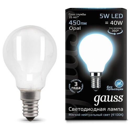Лампа светодиодная gauss 105201205, E14, G45, 5Вт лампа светодиодная navigator 5вт e14 400лм 4000k 230в шар g45