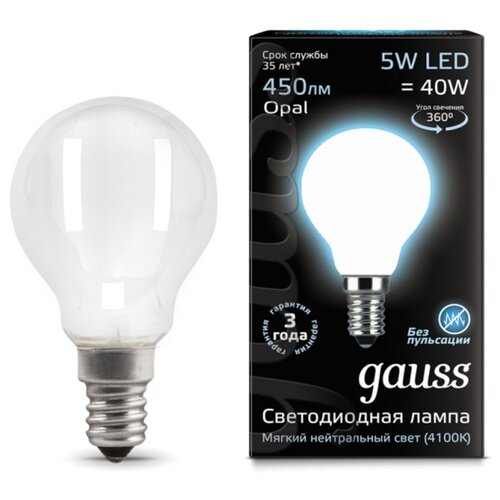 Лампа светодиодная gauss 105201205, E14, G45, 5Вт лампа светодиодная gauss 105101210 e14 g45 9 5вт
