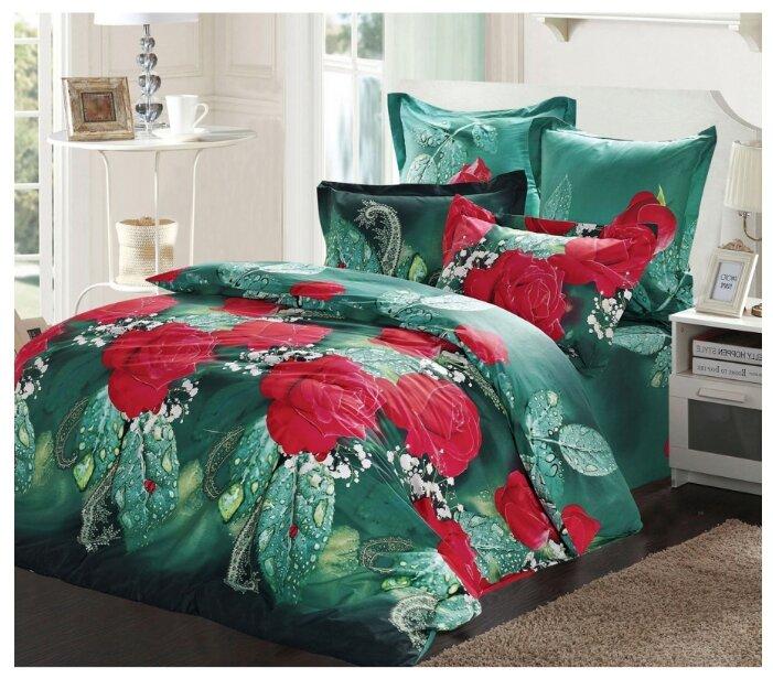 Постельное белье 1.5-спальное СайлиД B-150, сатин красный / зеленый