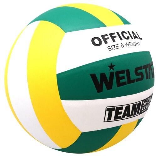 Волейбольный мяч WELSTAR VLPU4408 зеленый/желтый/белый волейбольный мяч kata 4500 белый зеленый красный