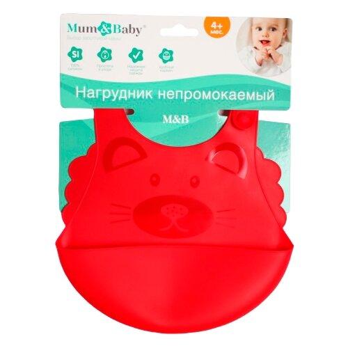 Купить Mum&Baby Силиконовый нагрудник, кот/красный, Нагрудники и слюнявчики