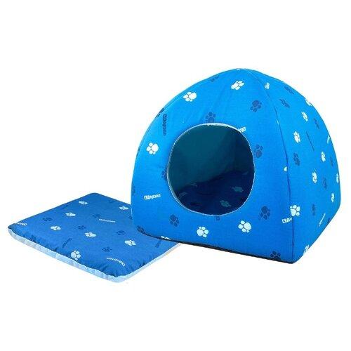 Домик для собак и кошек Дарэлл Юрта 42х42х41 см синий/голубой