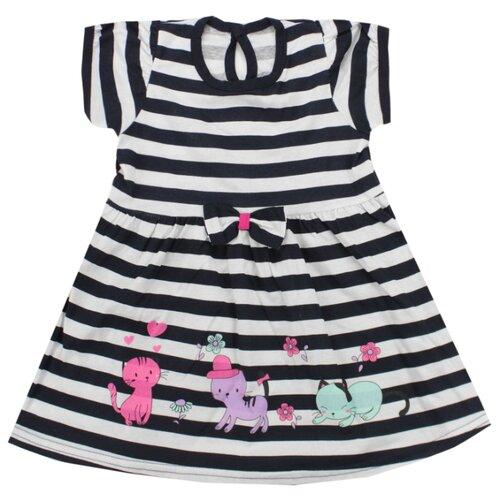 Платье iBala размер 30 (92-98), белый/темно-синий платье для девочки lucky child романтик цвет белый красный темно синий 18 61 размер 86 92 2 года