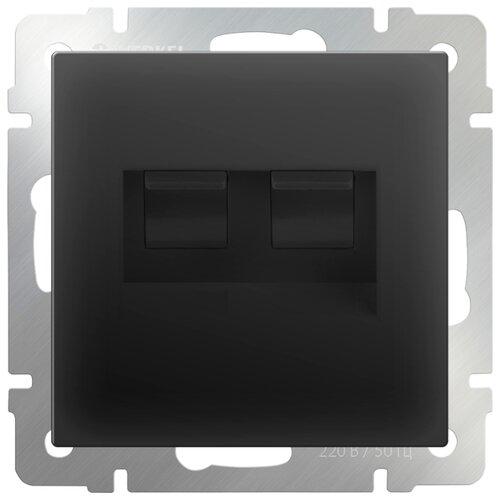 Фото - Розетка для интернета / телефона Werkel WL08-RJ45+RJ45, черный розетка для интернета телефона werkel wl01 rj 11 белый