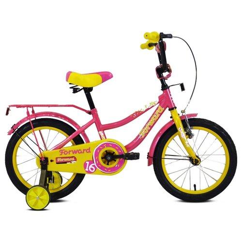 Детский велосипед FORWARD Funky 16 (2020) фиолетовый/желтый (требует финальной сборки)