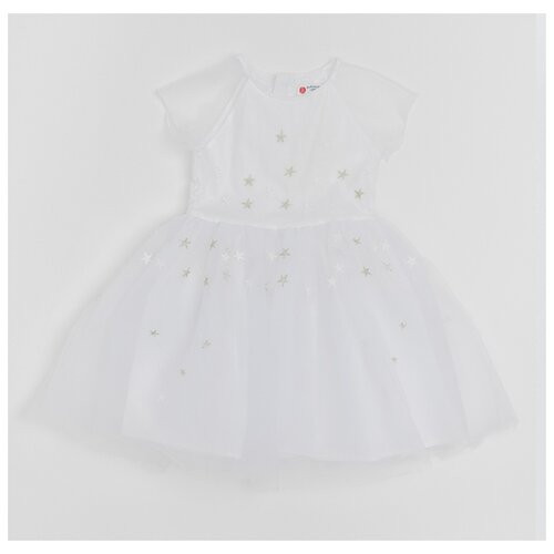 Купить Платье Button Blue размер 128, белый, Платья и сарафаны