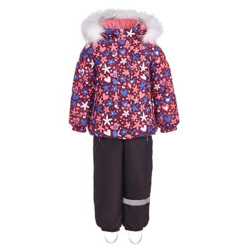 Комплект с полукомбинезоном KISU W18-20201-06021/07011 размер 98, фиолетовый/коралл брюки утепленные kisu kisu mp002xc006zn