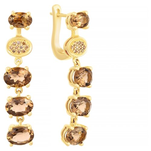 JV Золотые серьги с бриллиантами, раухтопазом RE7011-DN-SQ-YG