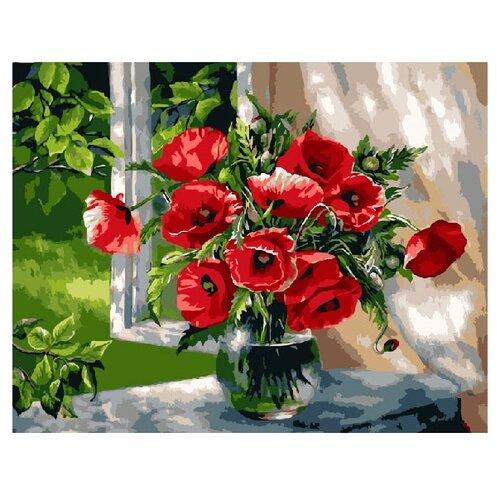 Купить ВанГогВоМне Картина по номерам Маки на окне , 40х50 (ZX 20079), Картины по номерам и контурам