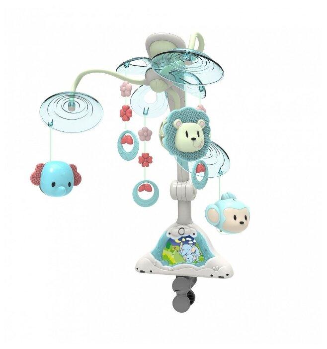 Музыкальная игрушка Huggeland Малыши зверята. Мобиль в кроватку