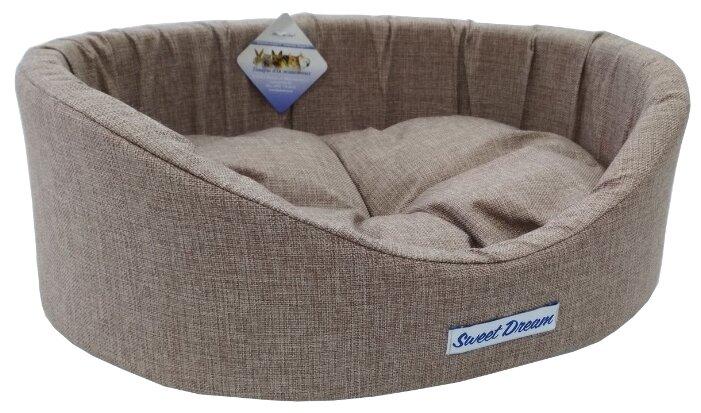 Лежак для собак Бобровый Дворик овальный с бортиком Сладкий сон №3 55х43х16 см