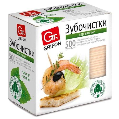 GRIFON Зубочистки из дерева в индивидуальной упаковке, 500 шт.