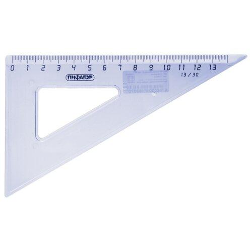 Купить Пифагор Угольник 30° 13 см (210617) прозрачный/голубой, Чертежные инструменты