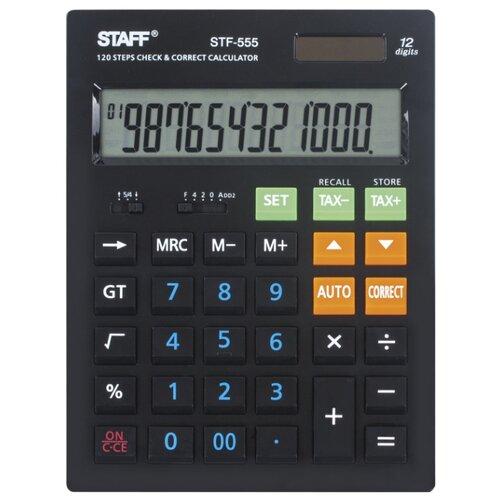 Калькулятор бухгалтерский STAFF STF-555 черный ручка корректор staff 7 мл